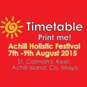Achill Holistic Festival 2015Timetable